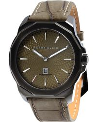 Perry Ellis - Decagon Olive Leather Watch - Lyst