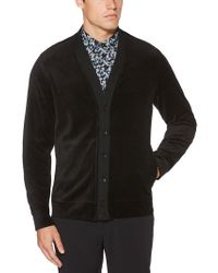 Perry Ellis - Velour Button-up Cardigan - Lyst