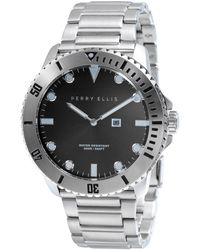 Perry Ellis - Unisex Deep Diver Black Leather Watch - Lyst