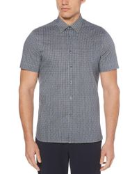Perry Ellis - Total Stretch Slim Fit Box Weave Print Shirt - Lyst