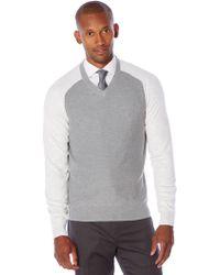 Perry Ellis - Long Sleeve Colorblock Sweater - Lyst