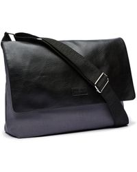 Perry Ellis - Leather And Canvas Messenger Bag - Lyst