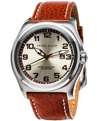 Perry Ellis - Memphis Brown Leather Watch - Lyst