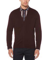 Perry Ellis - Men's Plaited Cardigan Sweater - Lyst