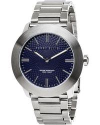 Perry Ellis - Slimline Navy Stainless Steel Watch - Lyst
