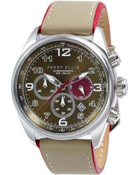 Perry Ellis - Gt Chrono Olive Leather Watch - Lyst