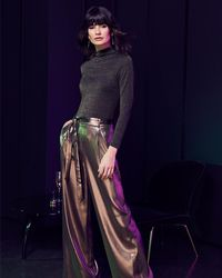 Phase Eight - Keira Gold Wide Leg Trousers - Lyst