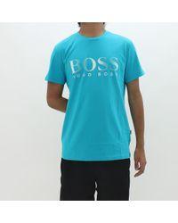 BOSS - By Hugo Logo T-shirt Teal - Lyst