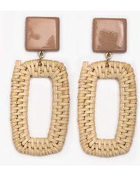 Pixie Market - Rectangle Straw Earrings - Lyst