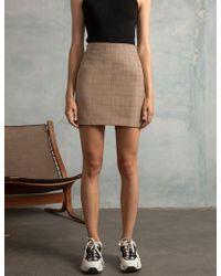 Pixie Market - Brown Plaid Mini Skirt - Lyst