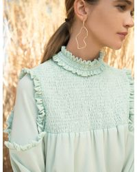 Pixie Market - Mint Ruffled Mock Neck Blouse - Lyst
