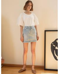 Pixie Market - Denim Frayed Mini Skirt - Lyst