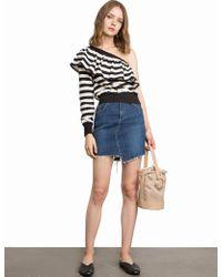 Pixie Market - Striped Ruffled One Shoulder Sweatshirt - Lyst