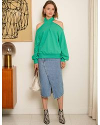 Pixie Market - Nico Mint Green Sweatshirt - Lyst