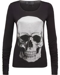 """Philipp Plein - T-shirt Round Neck Ls """"big Front Skull - Lyst"""