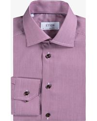 Eton of Sweden - Slim Fit Fine Pin-stripe Shirt Burgundy - Lyst