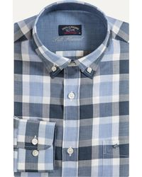 Paul & Shark - Soft Touch Flannel Checked Shirt Blue & Grey - Lyst