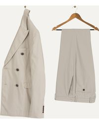 Burberry | 'millbank' Double Breasted Cotton Stretch Suit Mink Grey | Lyst