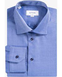 Eton of Sweden - Slim Fit Textured Shirt Bright Blue - Lyst
