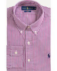 Ralph Lauren - Slim Fit Button Down Bengal Stripe Mauve Wine/white - Lyst