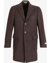 Canali - Kei Herringbone Patch Pocket Overcoat Heather Brown - Lyst