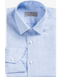 Canali - Modern Fit Striped Linen Shirt Sky Blue - Lyst