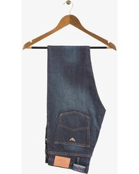 Armani - Slim Fit Dark Faded Denim Jeans With Bronze Eagle - Lyst