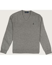 Ralph Lauren - Classic V-neck Merino Knit Fawn Grey Heather - Lyst