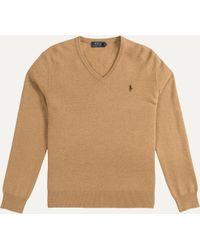 Ralph Lauren - Classic V-neck Merino Knit Camel - Lyst