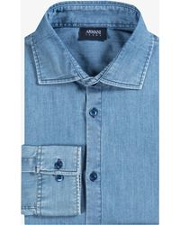 Armani Jeans - Plain Slim Fit Soft Chambray Shirt Blue - Lyst