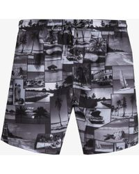 BOSS - 'springfish' Quick Dry Cuba Lifestyle Print Swim Shorts Black & White - Lyst
