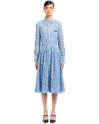 Prada - Lace Dress With Scroll Motif - Lyst