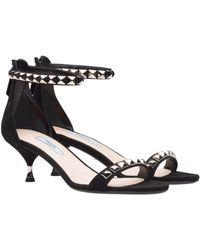 Prada - Studded Suede Sandals - Lyst