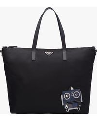 Prada | Nylon Tote With Robot Appliqué | Lyst