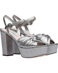 Prada - Laminated Nappa Platform Sandals - Lyst