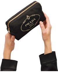 a29422f435 Lyst - Prada Fabric Cosmetic Pouch in Black