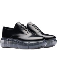 3fc7668f84b7 Prada - Leather Oxford Shoes With Rubber Sole - Lyst