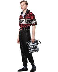 Prada - Printed Leather Messenger Bag - Lyst