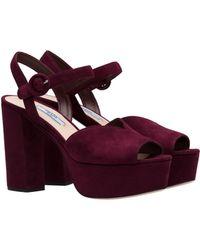 103b276cc8fb Lyst - Prada Leather Flower Ankle Strap Platform Sandals in Brown