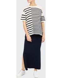 Pringle of Scotland - Striped Cashmere T-shirt In Off White/indigo - Lyst