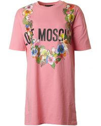 Love Moschino - Flower Detail Logo T-shirt Dress - Lyst