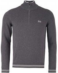 BOSS Athleisure - Grey Quarter Zip Jumper - Lyst