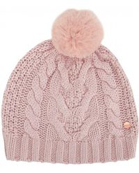 Ted Baker - Cable Knit Pom Pom Hat - Lyst