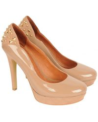 Moda In Pelle - Stud Back Patent And Suede High Shoes - Lyst