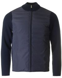 Aquascutum - Wise Nylon Front Knit Mix Jacket - Lyst