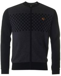 Fred Perry - Textured Zip Through Knit - Lyst