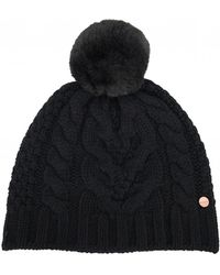 Ted Baker - Cable Knit Pom Pom Hat - Lyst fe3aec6eb1d