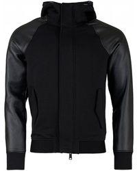 Armani - Hooded Zip Up Contrast Sleeve Jacket - Lyst