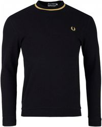 Fred Perry - Long Sleeved Crew Neck Pique - Lyst