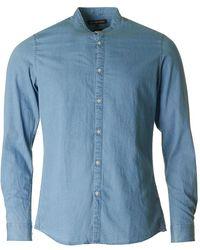 Michael Kors - Slim Indigo Band Collar Shirt - Lyst